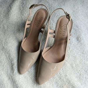 Franco Sarto Nude Patent Leather Amelie Heels